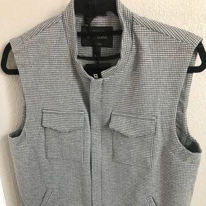 River island zip up vest in grey houndstooth print